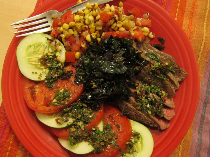 Steak with Chimichurri Sauce (parsley), Kale, Tomato & Cucumber Salad ...