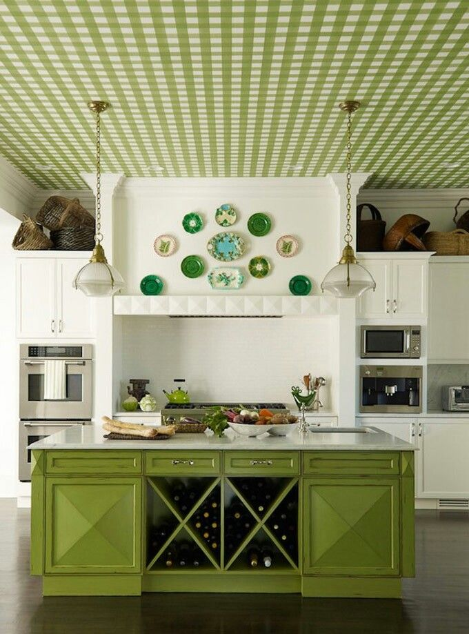 Green kitchen, wallpapered ceiling