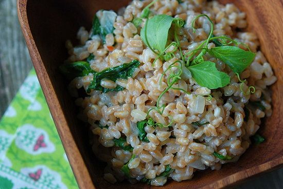"Farro ""Risotto"" with Parmesan & Pea Shoots - my recipe was simp..."