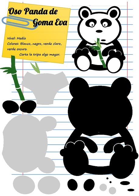 Moldes de osos panda en foami - Imagui