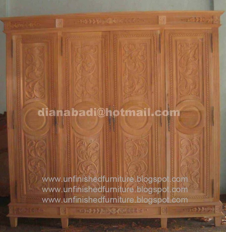 Unfinished mahogany Furniture  Salina Armoire 4 Door   made of fine    Unfinished Mahogany
