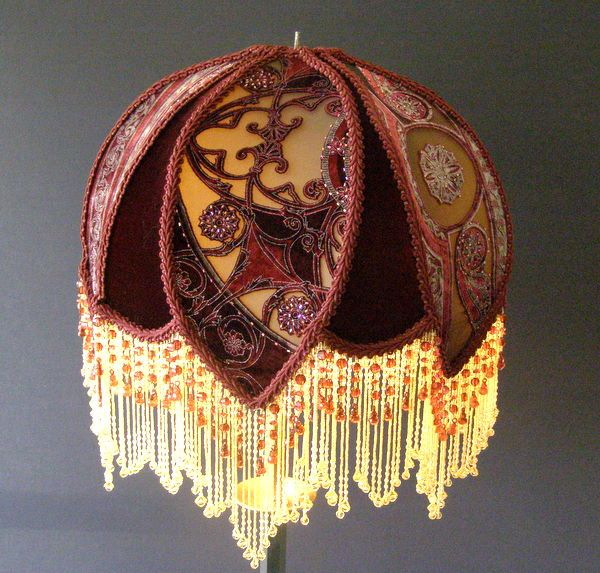 Victorian beaded lampshade victorian shades lamps for How to make beaded chandelier lamp shades
