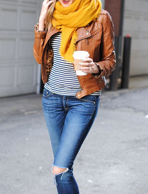 Cognac leather and  mustard scarf