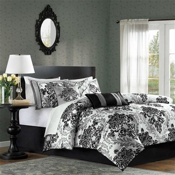 Plush 7 Piece Comforter Set Black Grey White Print Bedding