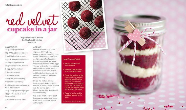 red velvet cupcake in a jar....great office valentine gift. maybe a ...