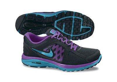 Womens Nike Dual Fusion Run Running Shoe Black/Laser Purple/Neon
