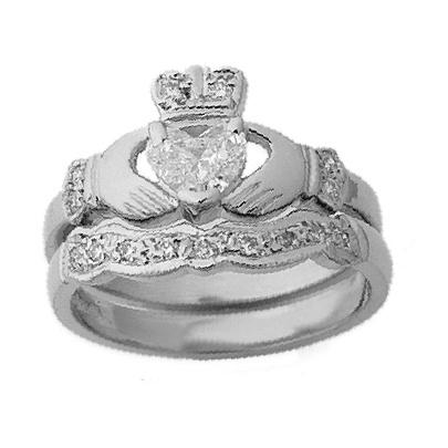 14k White Gold Diamond Claddagh Engagement Wed Set