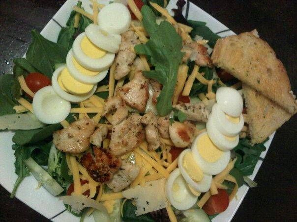 Chicken Cobb Salad with Whole Grain Bread: I