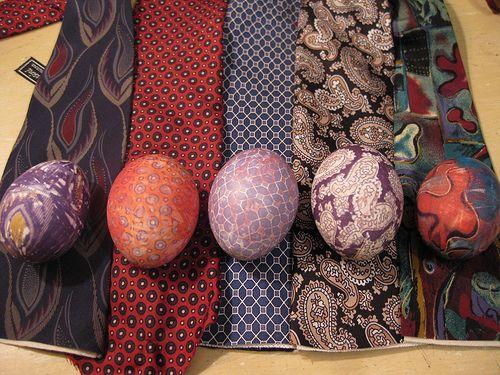 Dye eggs using old silk neckties!  Must raid the closet