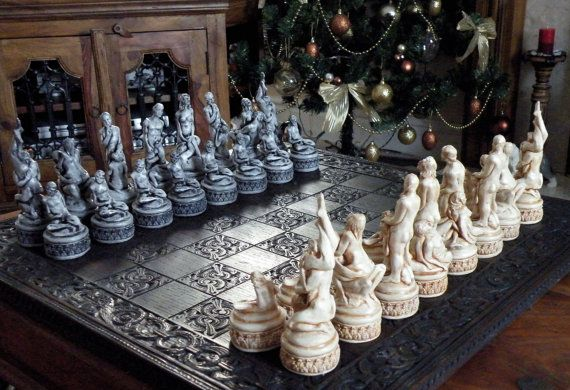 Large Adult Erotic Chess Set Ornate Base by ChessMouldsAndMore, £135.00