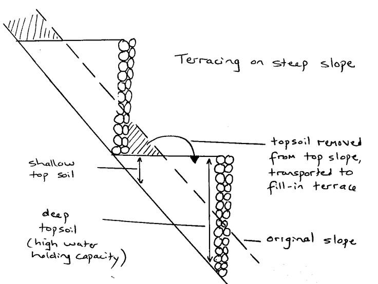 Steep slope terrace retaining walls pinterest for Terrace farming diagram
