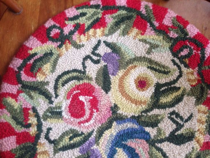 set of 6 hooked rug chair pad pretty floral pattern from