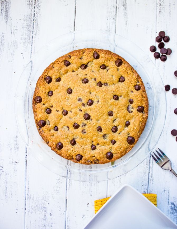 The Perfect Oatmeal Chocolate Chip Cookie Pie - Brunch Time Baker