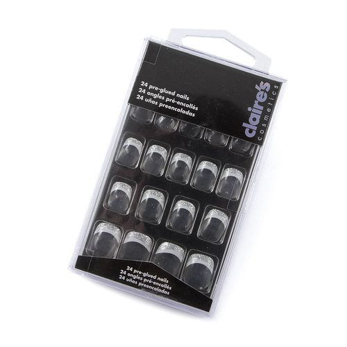 silver glitter tip faux nails claire 39 s fake nails eyelashes ect. Black Bedroom Furniture Sets. Home Design Ideas