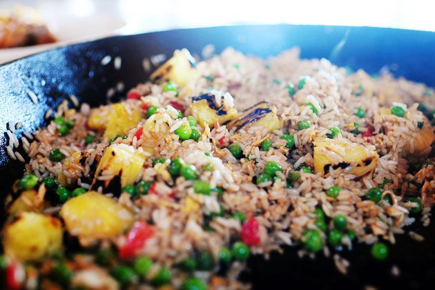 Pioneer Woman's fried rice with pineapple.-Garlic, eggs, peas, rice ...