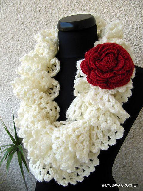 Crochet Pattern Lace Ruffle Scarf : Marvellous Ruffle Lace Scarf Tutorial pattern by Lyubava ...