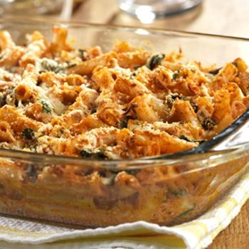Three Cheese Baked Ziti with Spinach | Yummy Vegetarian! | Pinterest
