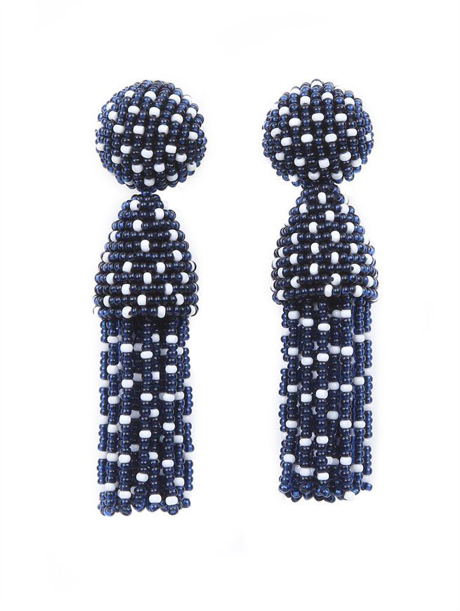 SHORT POLKA DOT TASSEL EARRINGS  Oscar de la Renta