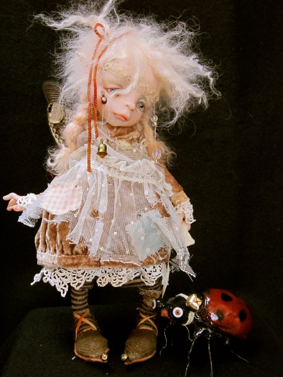 Art Doll by LuLu Tatum: A Little Faerie and her pet Lady Bug , $1900.00