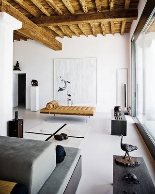 rustic wood beam ceiling, barcelona chaise