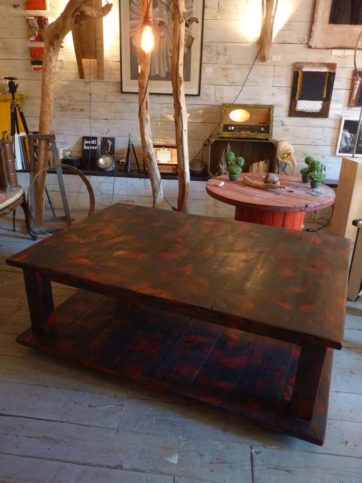 Table Basse Ronde Plateau Amovible ~ Table Basse Bois De Grosse Palette  Coffee Table With Big Pallet Wood