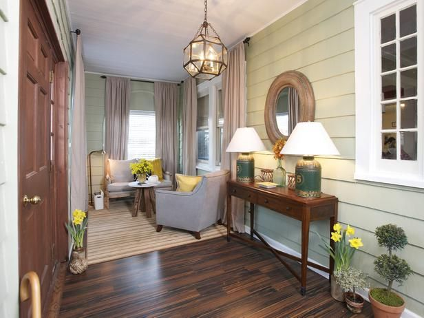Adding indoor furniture to this enclosed porch transformed it into usable living space, as seen on HGTV's The High Low Project.  Bring this room home...just browse & click to shop the look --->  http://hg.tv/sr7e