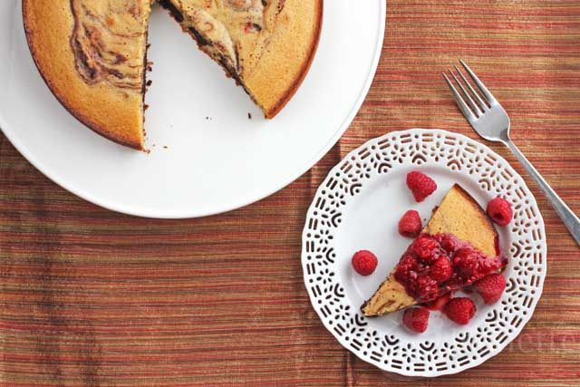 Gluten-Free Coffee Chocolate Marble Cake with Raspberry Sauce ...