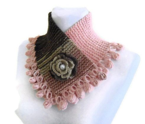 Knitted neck warmer, knit collar, autumn, hand-knitted,gift,fashion,p ...