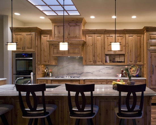 Knotty Pine Cabinets With Light Counters Kitchen Pinterest