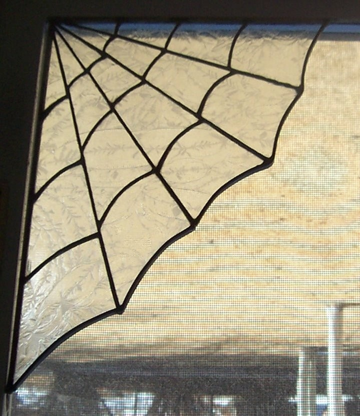Large Stained Glass Glue Chip Spider Web - Alsatiagray , Etsy