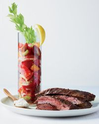 Skirt Steak with Bloody Mary Tomato Salad Recipe on Food & Wine CAN'T...