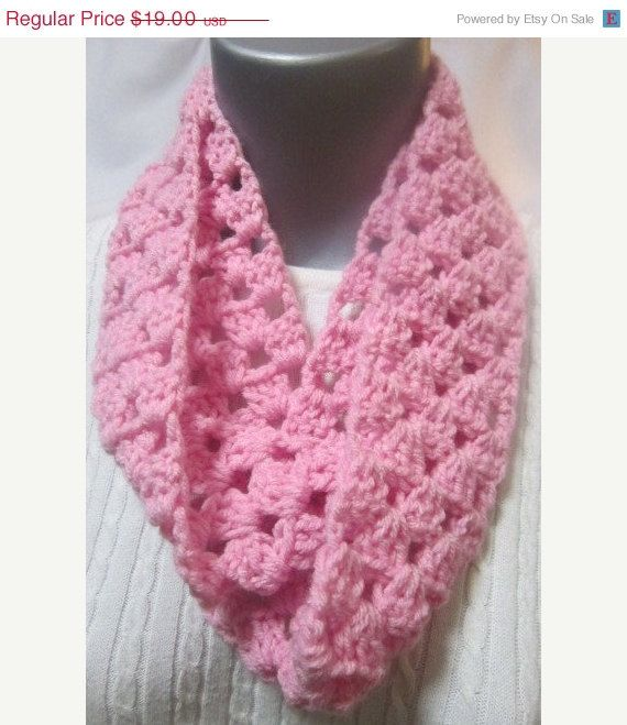 Crocheting Ends Of Infinity Scarf Together : End of Year Sale Pink Crocheted Infinity Scarf, Thin Infinity Scarf ...