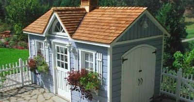 Baby blue garden shed http://faithandpearl.blogspot.com/2011/08/what-makes-garden-shed-shed.html  #garden #shed #blue #outdoor #spaces