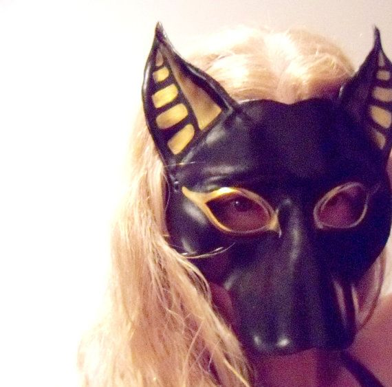 bast cat leather mask black and gold costume egyptian by teonova 128