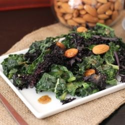 Sautéed Purple and Lacinato Kale Salad with Almond Dressing