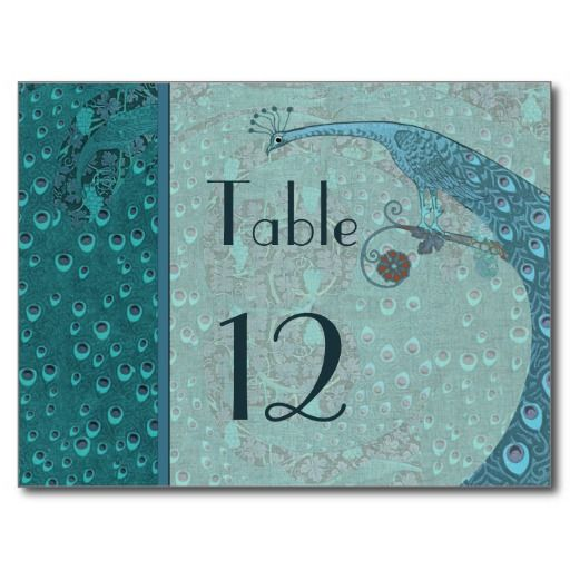 Art nouveau vintage peacock table number card for Table 52 cards