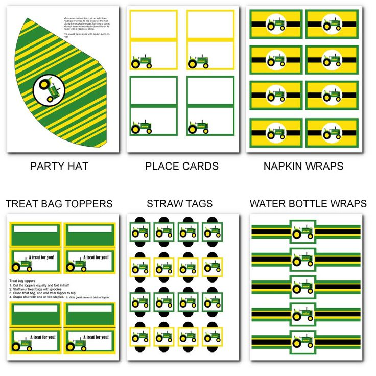 Printable party packs john deere tractor birthday party pack
