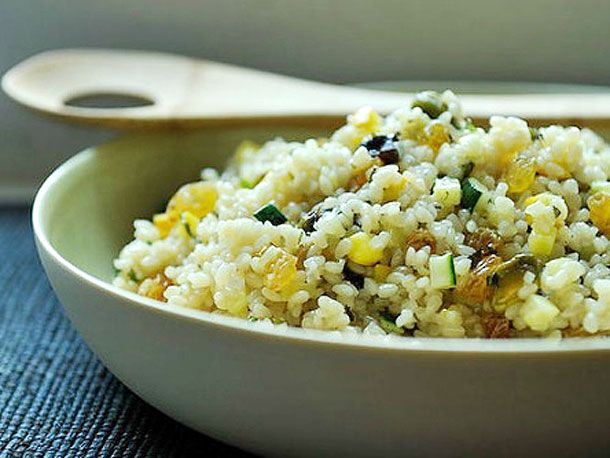 Summer Squash Couscous with Sultanas, Pistachios, and Mint