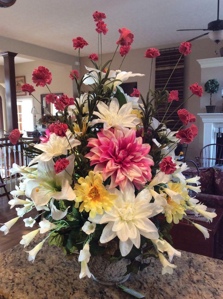Spring floral centerpiece silk flower arrangements