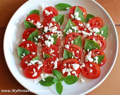 Tomato, basil and feta salad | Salads | Pinterest