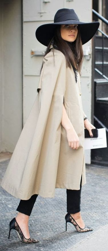 Camel Long Line Cape and Large Black Hat