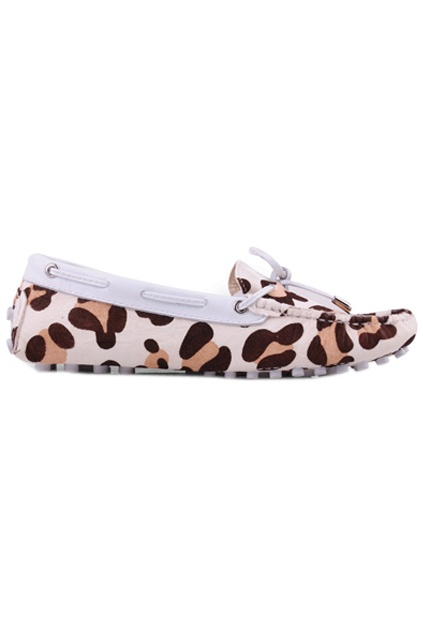 White Leopard Flat Shoes