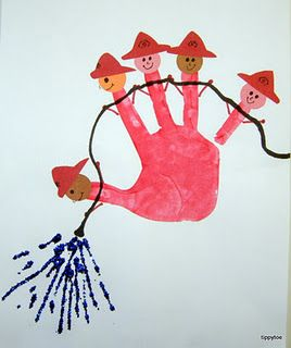 Firemen hand print- Community Helper Week Idea...