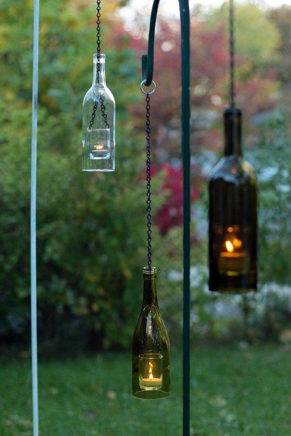Wine bottles made into hanging lanterns.