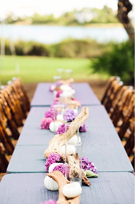 driftwood and hydrangea centerpiece for beach wedding