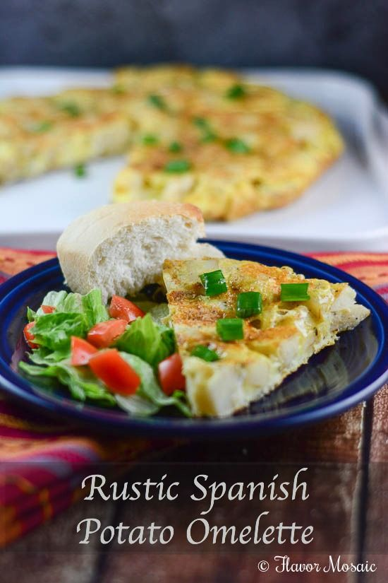 Rustic Spanish Potato Omelette Recipe is great for breakfast, lunch ...
