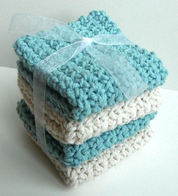 Crochet Dishcloths Washcloths - Set of 4 - For Kitchen or Bathroom ...