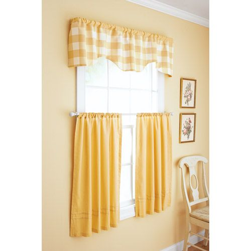 Better homes and gardens checks and solids window set - Kitchen curtains walmart ...