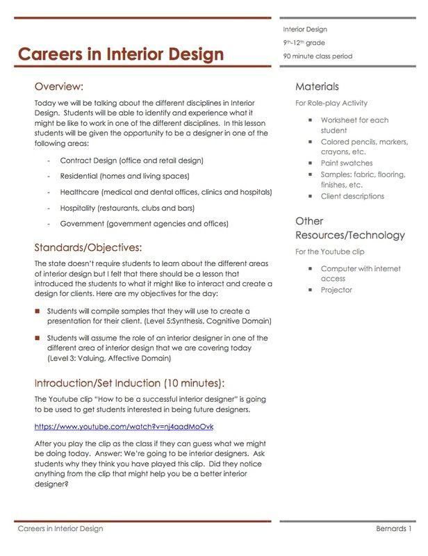 careers in interior design lesson plan interior design the art of interior design facs curriculum interior