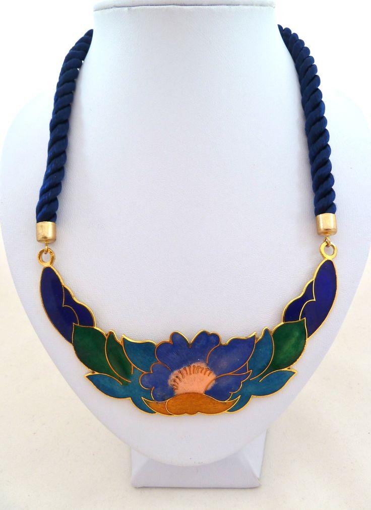 cloisonn 233 floral pendant necklace 80s jewelbird